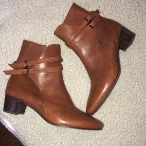 ZARA leather cognac booties